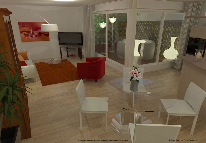 Simulation 3D Salon Contemporain - 03 bis