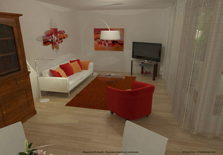 Simulation 3D Salon Contemporain - 03